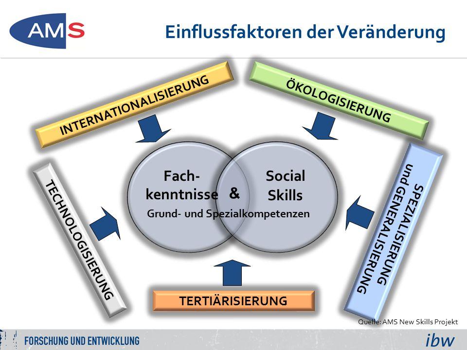 Einflussfaktoren der Veränderung INTERNATIONALISIERUNG TERTIÄRISIERUNG SPEZIALISIERUNG und GENERALISIERUNG TECHNOLOGISIERUNG ÖKOLOGISIERUNG Social Skills Fach- kenntnisse & Grund- und Spezialkompetenzen Quelle: AMS New Skills Projekt