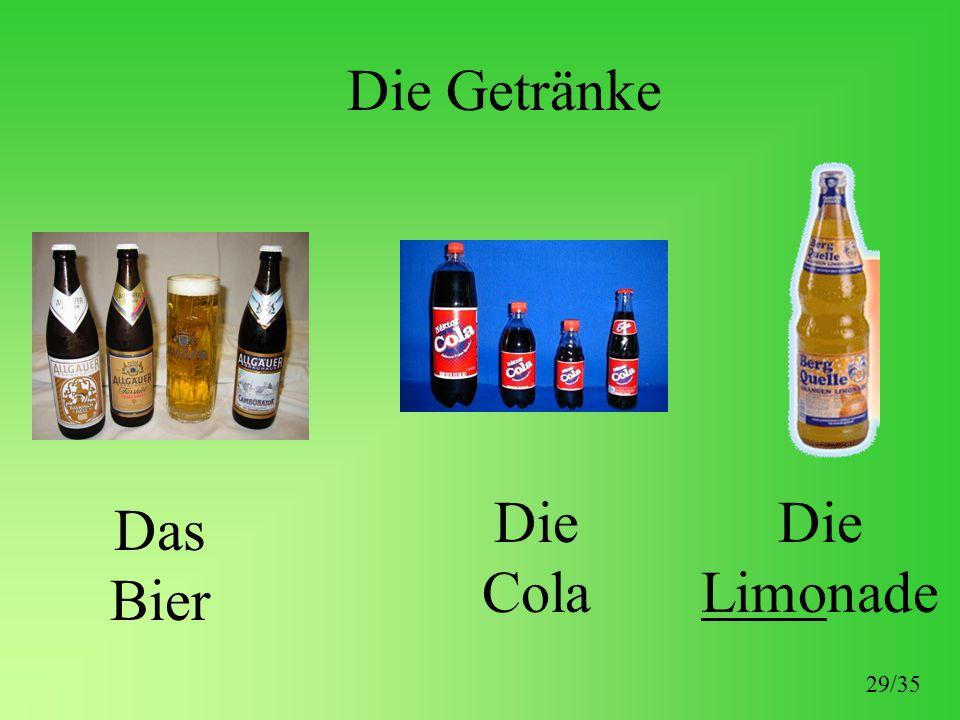 Die Getränke Das Bier Die Cola Die Limonade 29/35
