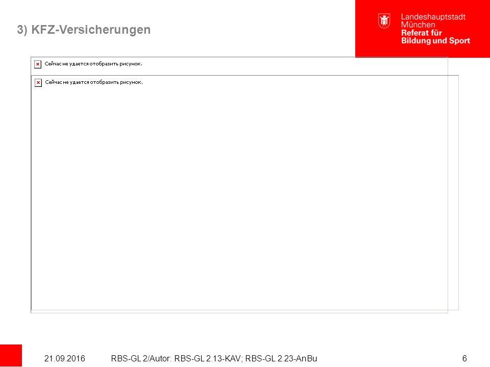 21.09.2016RBS-GL 2/Autor: RBS-GL 2.13-KAV; RBS-GL 2.23-AnBu6 3) KFZ-Versicherungen