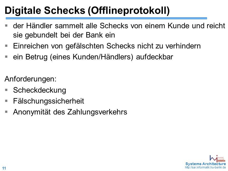 11 May 2006 - 11 Systems Architecture http://sar.informatik.hu-berlin.de Digitale Schecks (Offlineprotokoll)  der Händler sammelt alle Schecks von ei