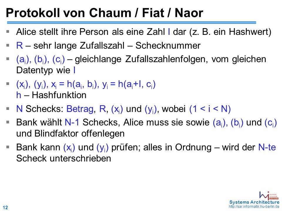 12 May 2006 - 12 Systems Architecture http://sar.informatik.hu-berlin.de Protokoll von Chaum / Fiat / Naor  Alice stellt ihre Person als eine Zahl I