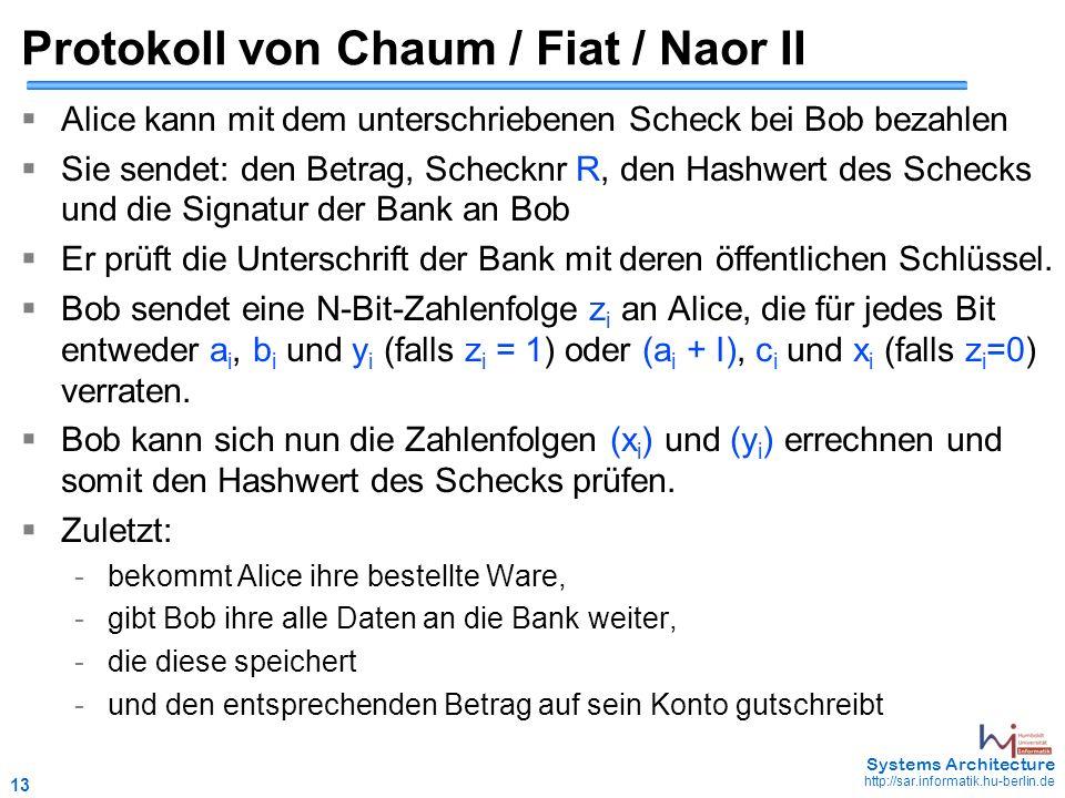 13 May 2006 - 13 Systems Architecture http://sar.informatik.hu-berlin.de Protokoll von Chaum / Fiat / Naor II  Alice kann mit dem unterschriebenen Sc