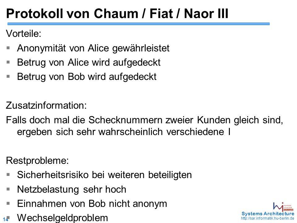 14 May 2006 - 14 Systems Architecture http://sar.informatik.hu-berlin.de Protokoll von Chaum / Fiat / Naor III Vorteile:  Anonymität von Alice gewähr