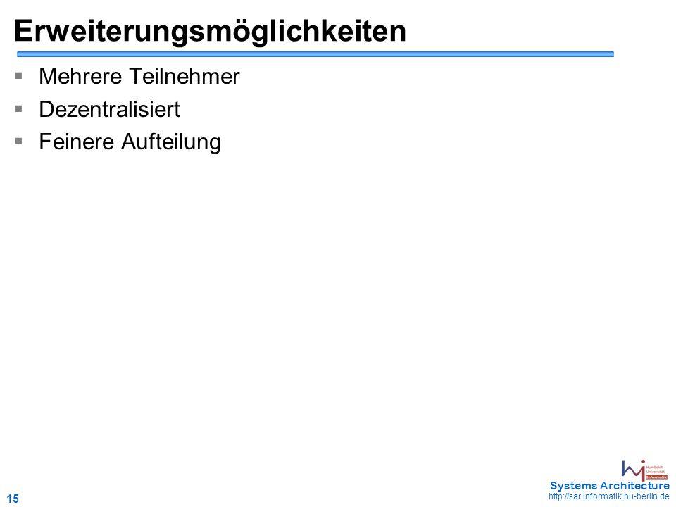 15 May 2006 - 15 Systems Architecture http://sar.informatik.hu-berlin.de Erweiterungsmöglichkeiten  Mehrere Teilnehmer  Dezentralisiert  Feinere Au