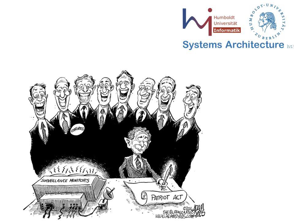 14 May 2006 - 14 Systems Architecture http://sar.informatik.hu-berlin.de Protokoll von Chaum / Fiat / Naor III Vorteile:  Anonymität von Alice gewährleistet  Betrug von Alice wird aufgedeckt  Betrug von Bob wird aufgedeckt Zusatzinformation: Falls doch mal die Schecknummern zweier Kunden gleich sind, ergeben sich sehr wahrscheinlich verschiedene I Restprobleme:  Sicherheitsrisiko bei weiteren beteiligten  Netzbelastung sehr hoch  Einnahmen von Bob nicht anonym  Wechselgeldproblem