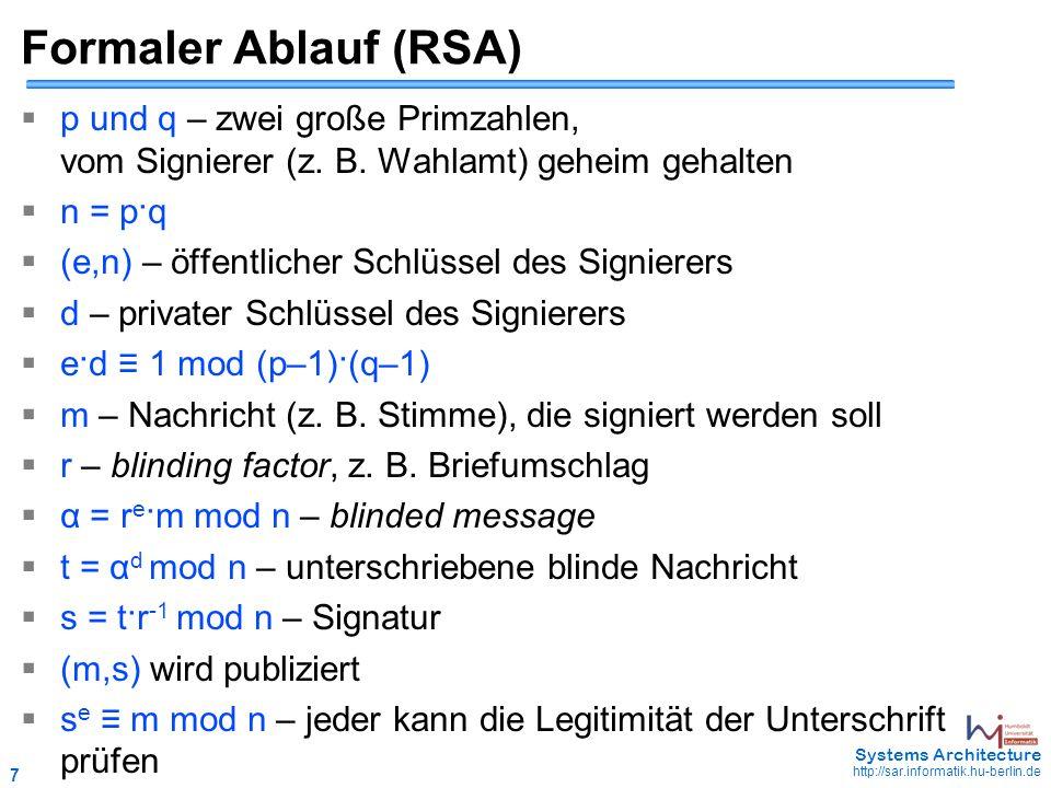 7 May 2006 - 7 Systems Architecture http://sar.informatik.hu-berlin.de Formaler Ablauf (RSA)  p und q – zwei große Primzahlen, vom Signierer (z. B. W