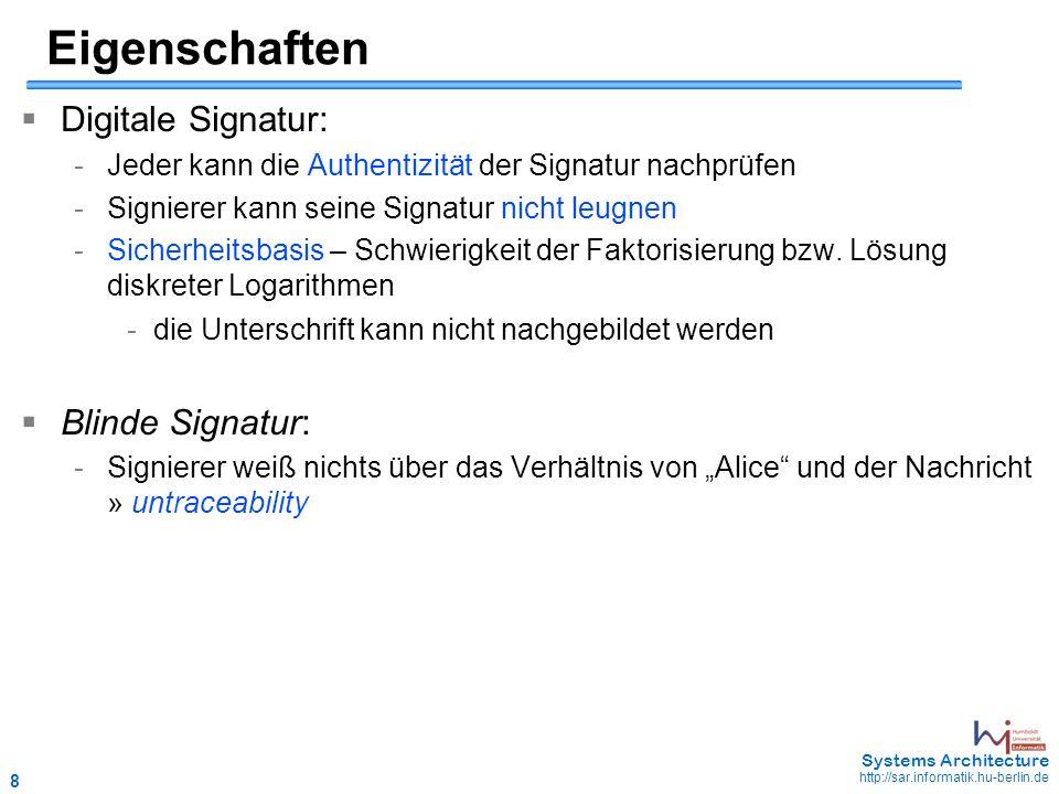 8 May 2006 - 8 Systems Architecture http://sar.informatik.hu-berlin.de Eigenschaften  Digitale Signatur: -Jeder kann die Authentizität der Signatur n