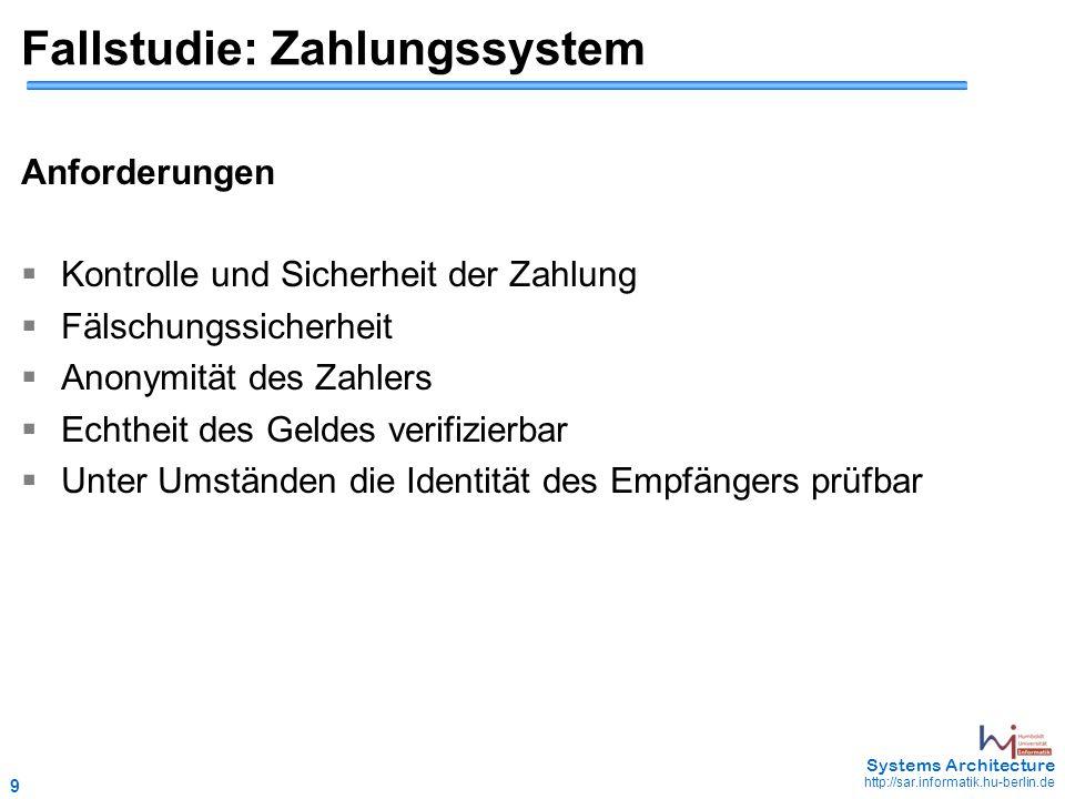 9 May 2006 - 9 Systems Architecture http://sar.informatik.hu-berlin.de Fallstudie: Zahlungssystem Anforderungen  Kontrolle und Sicherheit der Zahlung
