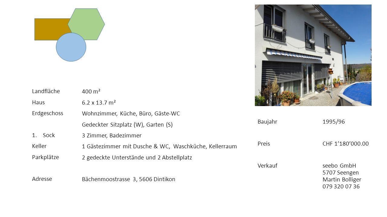 Landfläche Haus Erdgeschoss 1.Sock Keller Parkplätze Adresse 400 m² 6.2 x 13.7 m² Wohnzimmer, Küche, Büro, Gäste-WC Gedeckter Sitzplatz (W), Garten (S) 3 Zimmer, Badezimmer 1 Gästezimmer mit Dusche & WC, Waschküche, Kellerraum 2 gedeckte Unterstände und 2 Abstellplatz Bächenmoostrasse 3, 5606 Dintikon Baujahr Preis Verkauf 1995/96 CHF 1'180'000.00 seebo GmbH 5707 Seengen Martin Bolliger 079 320 07 36