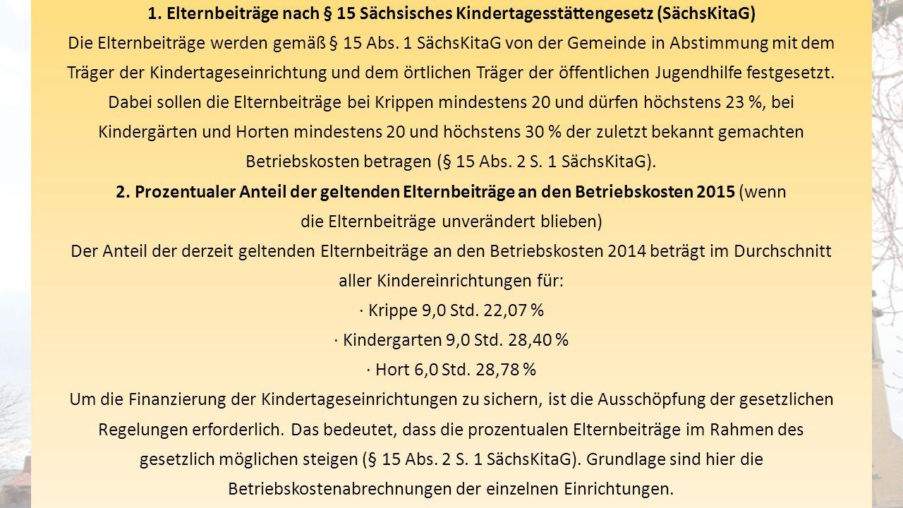 1. Elternbeiträge nach § 15 Sächsisches Kindertagesstättengesetz (SächsKitaG) Die Elternbeiträge werden gemäß § 15 Abs. 1 SächsKitaG von der Gemeinde