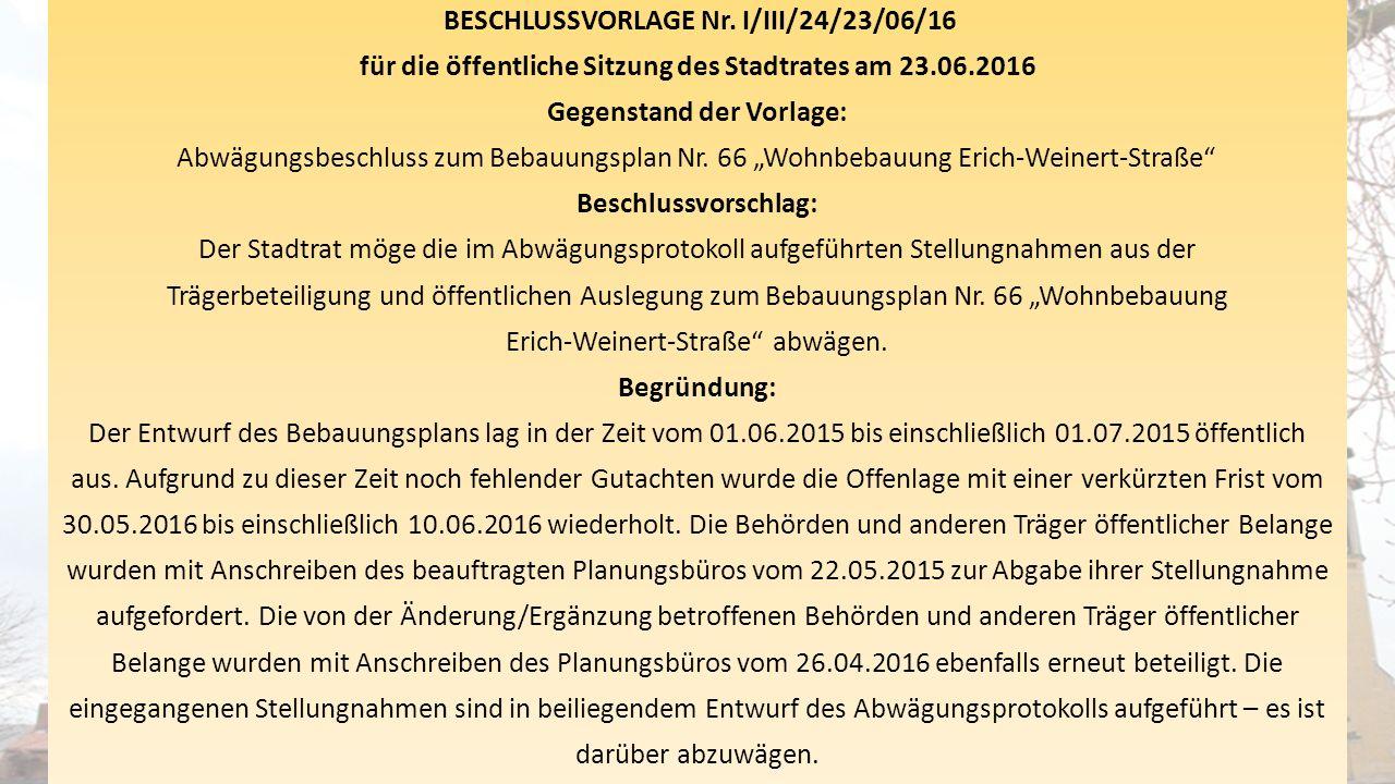 BESCHLUSSVORLAGE Nr. I/III/24/23/06/16 für die öffentliche Sitzung des Stadtrates am 23.06.2016 Gegenstand der Vorlage: Abwägungsbeschluss zum Bebauun