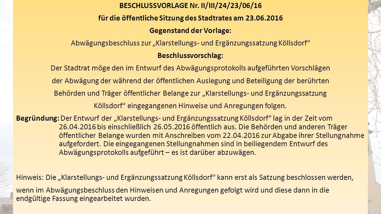 """BESCHLUSSVORLAGE Nr. II/III/24/23/06/16 für die öffentliche Sitzung des Stadtrates am 23.06.2016 Gegenstand der Vorlage: Abwägungsbeschluss zur """"Klars"""