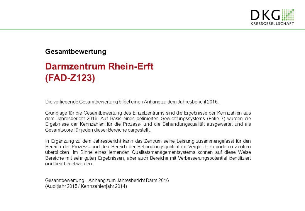 Gesamtbewertung Darmzentrum Rhein-Erft (FAD-Z123) Die vorliegende Gesamtbewertung bildet einen Anhang zu dem Jahresbericht 2016.
