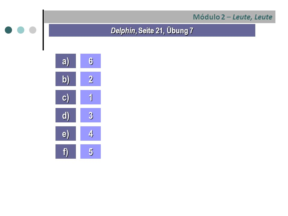 Módulo 2 – Leute, Leute Delphin, Seite 21, Übung 7 a)6 b)2 c)1 d)3 e)4 f)5