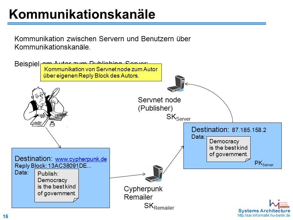 16 May 2006 - 16 Systems Architecture http://sar.informatik.hu-berlin.de Kommunikationskanäle Kommunikation zwischen Servern und Benutzern über Kommunikationskanäle.