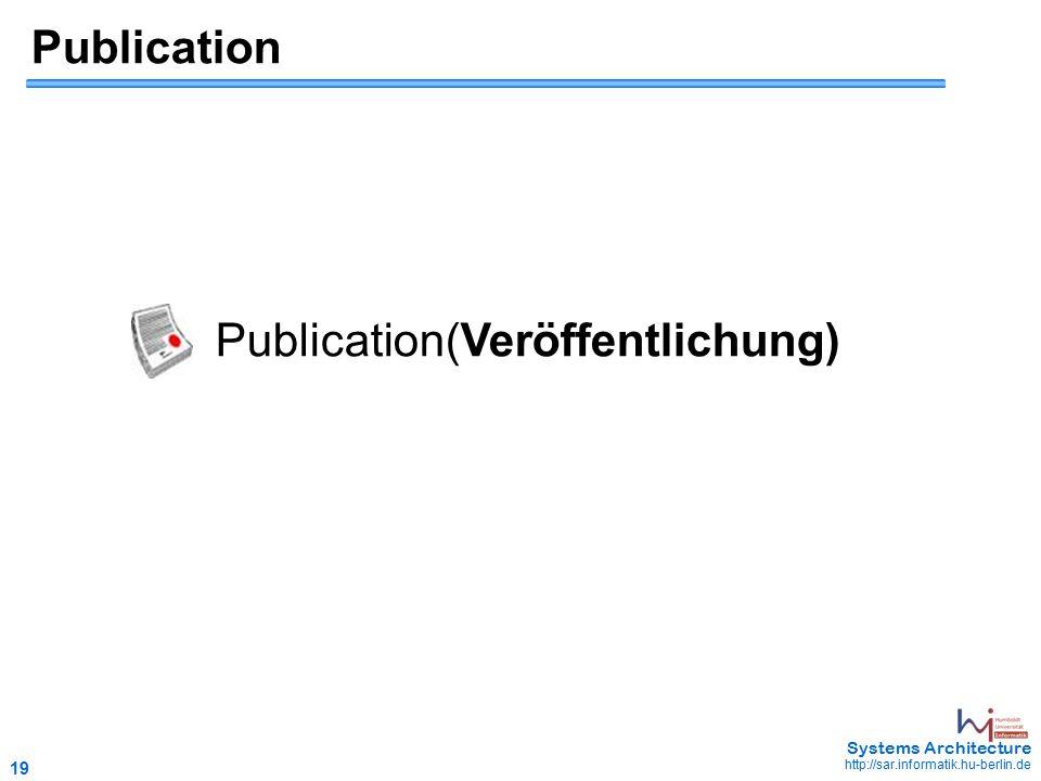 19 May 2006 - 19 Systems Architecture http://sar.informatik.hu-berlin.de Publication Publication(Veröffentlichung)