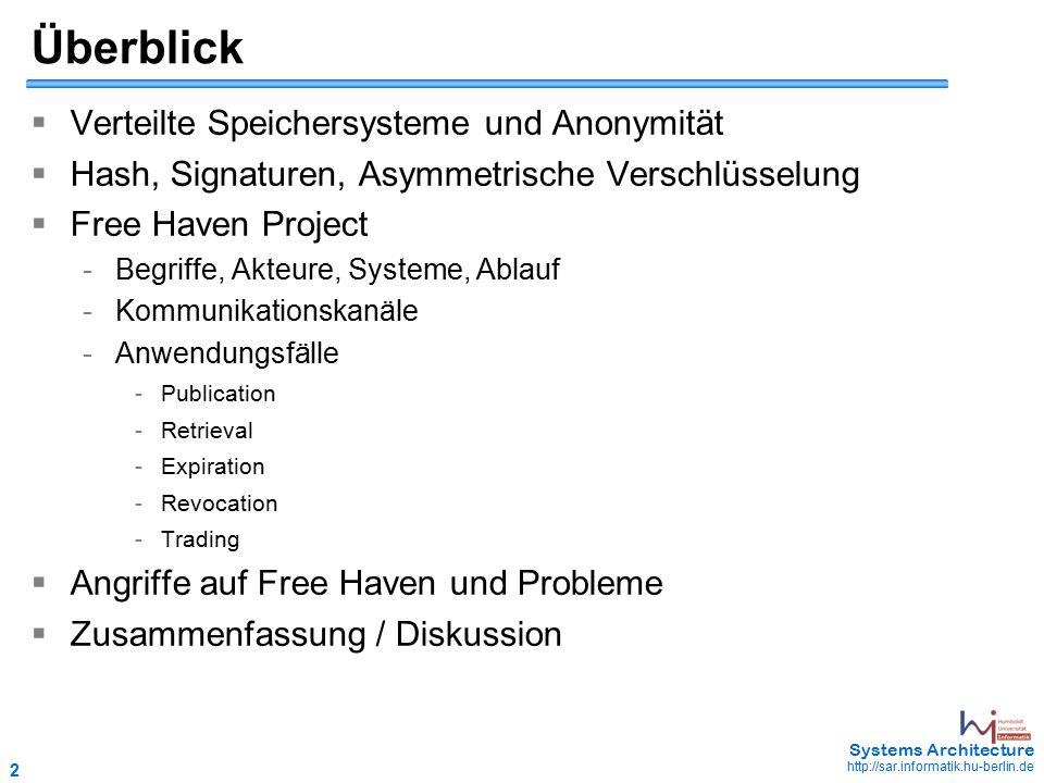 2 May 2006 - 2 Systems Architecture http://sar.informatik.hu-berlin.de  Verteilte Speichersysteme und Anonymität  Hash, Signaturen, Asymmetrische Verschlüsselung  Free Haven Project - Begriffe, Akteure, Systeme, Ablauf - Kommunikationskanäle - Anwendungsfälle - Publication - Retrieval - Expiration - Revocation - Trading  Angriffe auf Free Haven und Probleme  Zusammenfassung / Diskussion Überblick