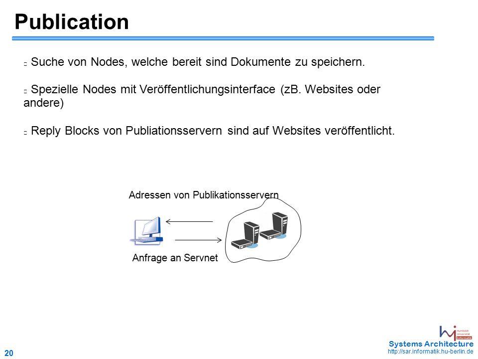 20 May 2006 - 20 Systems Architecture http://sar.informatik.hu-berlin.de Publication Suche von Nodes, welche bereit sind Dokumente zu speichern.