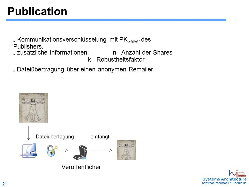 21 May 2006 - 21 Systems Architecture http://sar.informatik.hu-berlin.de Publication Kommunikationsverschlüsselung mit PK Server des Publishers.