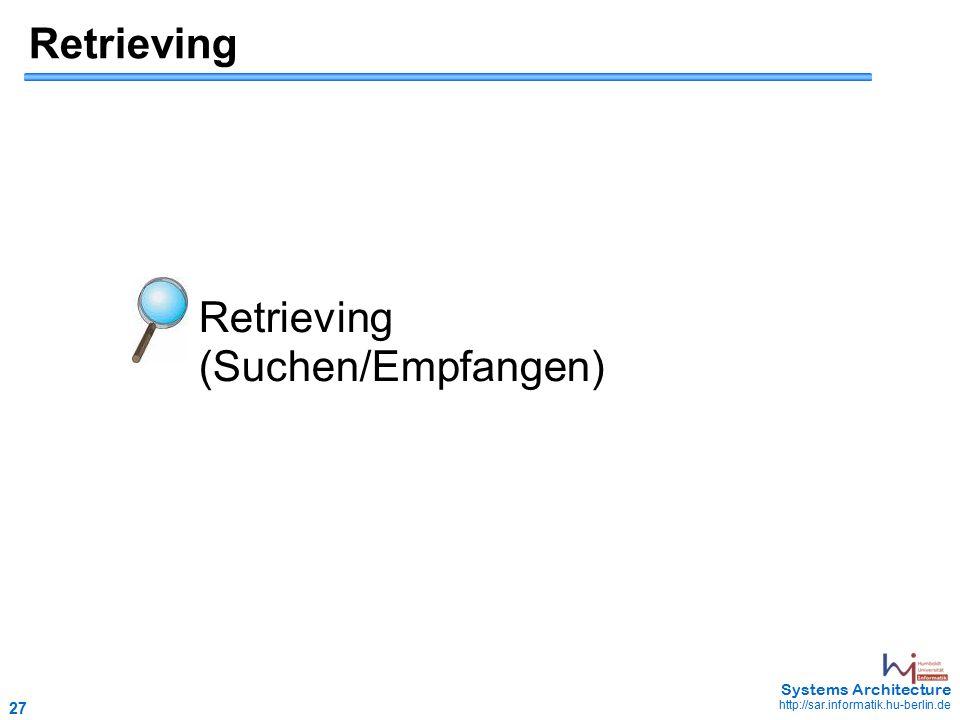 27 May 2006 - 27 Systems Architecture http://sar.informatik.hu-berlin.de Retrieving Retrieving (Suchen/Empfangen)