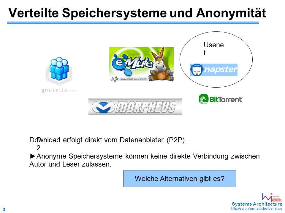 3 May 2006 - 3 Systems Architecture http://sar.informatik.hu-berlin.de Verteilte Speichersysteme und Anonymität P2P2 Download erfolgt direkt vom Datenanbieter (P2P).