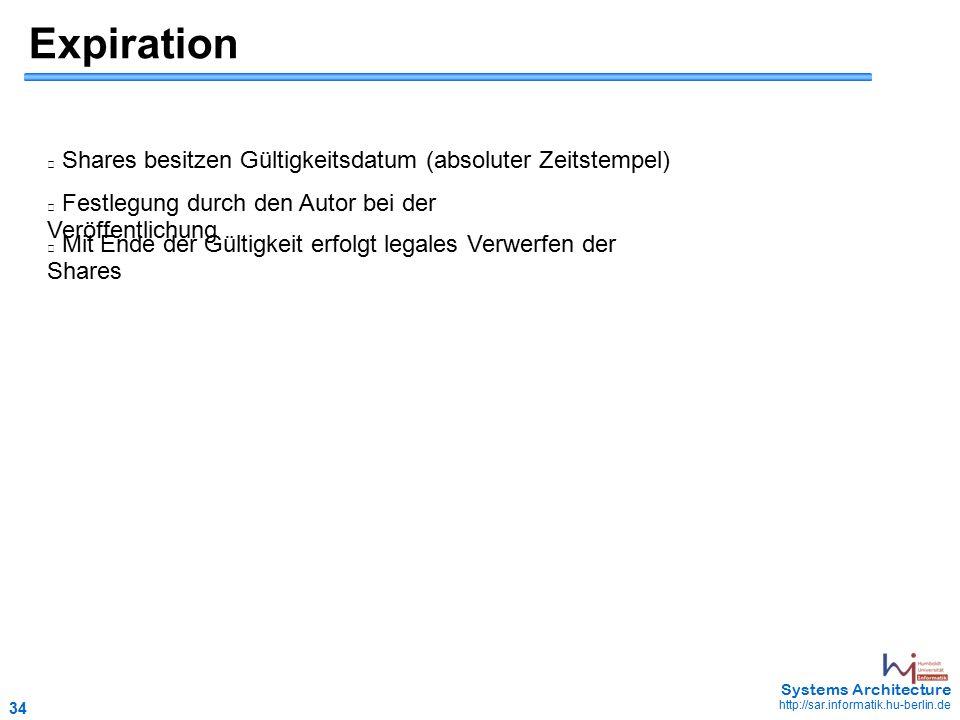 34 May 2006 - 34 Systems Architecture http://sar.informatik.hu-berlin.de Expiration Shares besitzen Gültigkeitsdatum (absoluter Zeitstempel) Festlegung durch den Autor bei der Veröffentlichung Mit Ende der Gültigkeit erfolgt legales Verwerfen der Shares