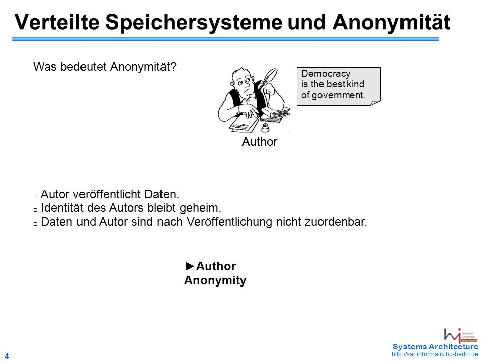 4 May 2006 - 4 Systems Architecture http://sar.informatik.hu-berlin.de Verteilte Speichersysteme und Anonymität Was bedeutet Anonymität.