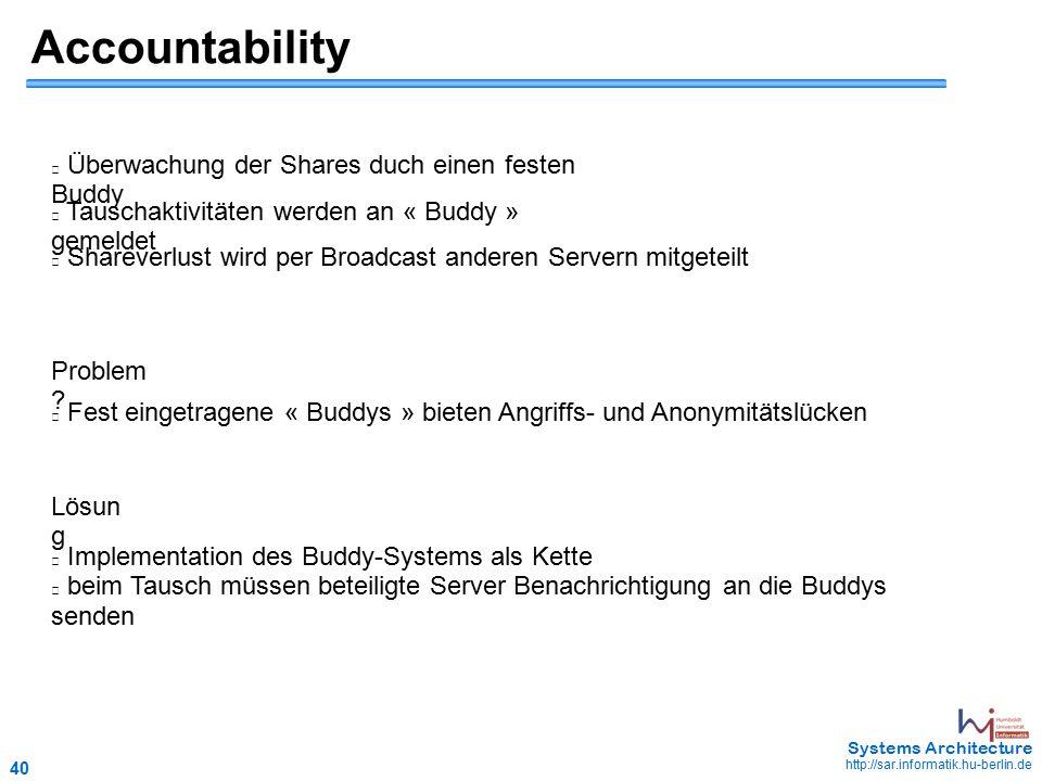 40 May 2006 - 40 Systems Architecture http://sar.informatik.hu-berlin.de Accountability Überwachung der Shares duch einen festen Buddy Tauschaktivitäten werden an « Buddy » gemeldet Shareverlust wird per Broadcast anderen Servern mitgeteilt Problem .