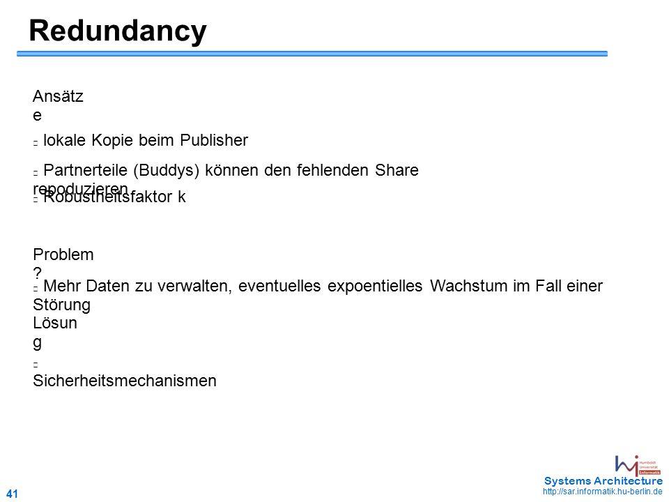 41 May 2006 - 41 Systems Architecture http://sar.informatik.hu-berlin.de Redundancy lokale Kopie beim Publisher Partnerteile (Buddys) können den fehlenden Share repoduzieren Mehr Daten zu verwalten, eventuelles expoentielles Wachstum im Fall einer Störung Lösun g Sicherheitsmechanismen Ansätz e Problem .