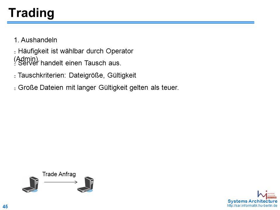 45 May 2006 - 45 Systems Architecture http://sar.informatik.hu-berlin.de Trading Häufigkeit ist wählbar durch Operator (Admin).