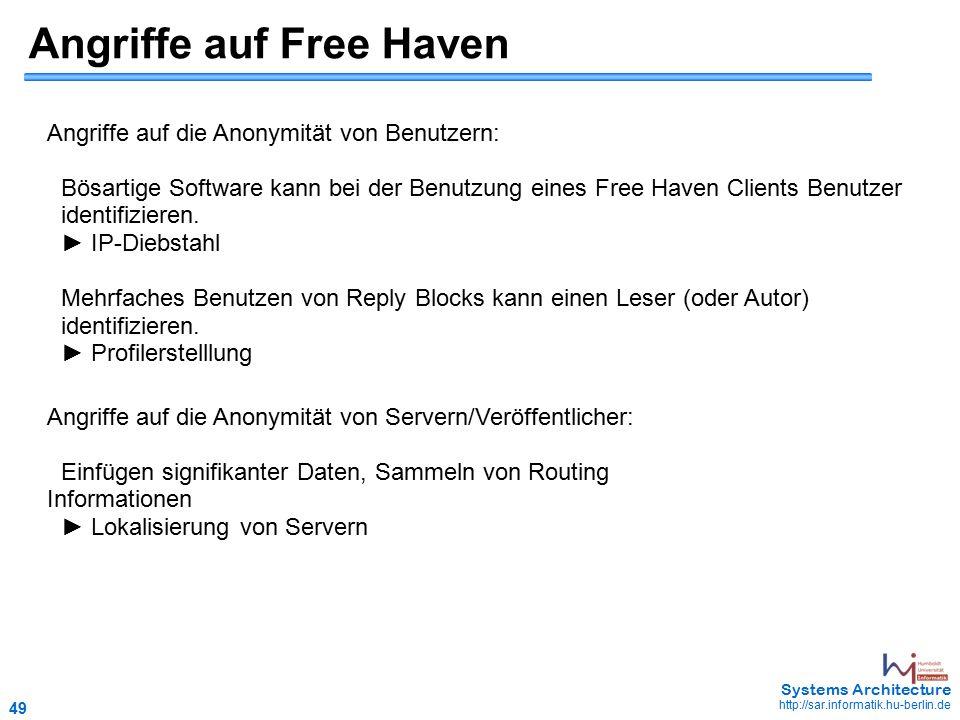 49 May 2006 - 49 Systems Architecture http://sar.informatik.hu-berlin.de Angriffe auf Free Haven Angriffe auf die Anonymität von Benutzern: Bösartige Software kann bei der Benutzung eines Free Haven Clients Benutzer identifizieren.