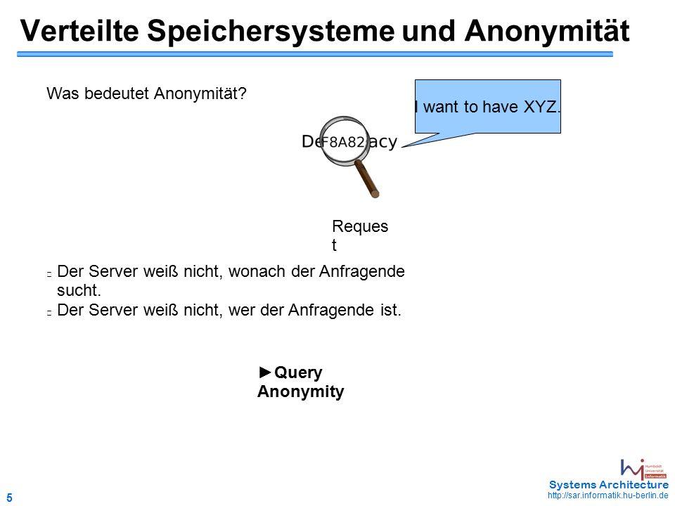 5 May 2006 - 5 Systems Architecture http://sar.informatik.hu-berlin.de Verteilte Speichersysteme und Anonymität Was bedeutet Anonymität.