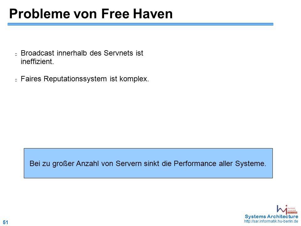 51 May 2006 - 51 Systems Architecture http://sar.informatik.hu-berlin.de Probleme von Free Haven Broadcast innerhalb des Servnets ist ineffizient.