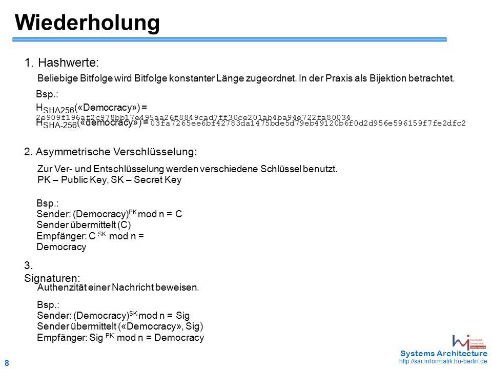 8 May 2006 - 8 Systems Architecture http://sar.informatik.hu-berlin.de Wiederholung 1.