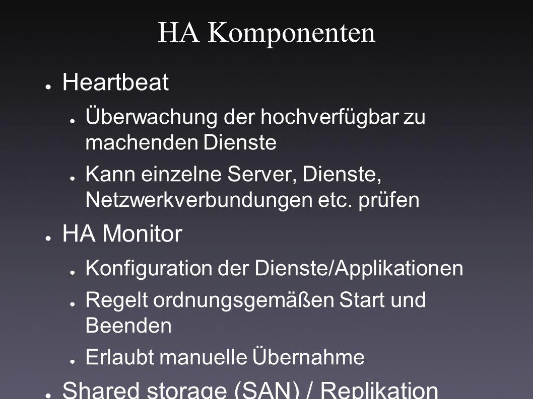 HA Komponenten ● Heartbeat ● Überwachung der hochverfügbar zu machenden Dienste ● Kann einzelne Server, Dienste, Netzwerkverbundungen etc.