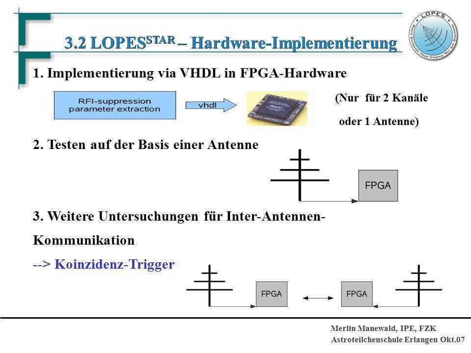 Astroteilchenschule Erlangen Okt.07 Merlin Manewald, IPE, FZK 3.2 LOPES STAR – Hardware-Implementierung 1.