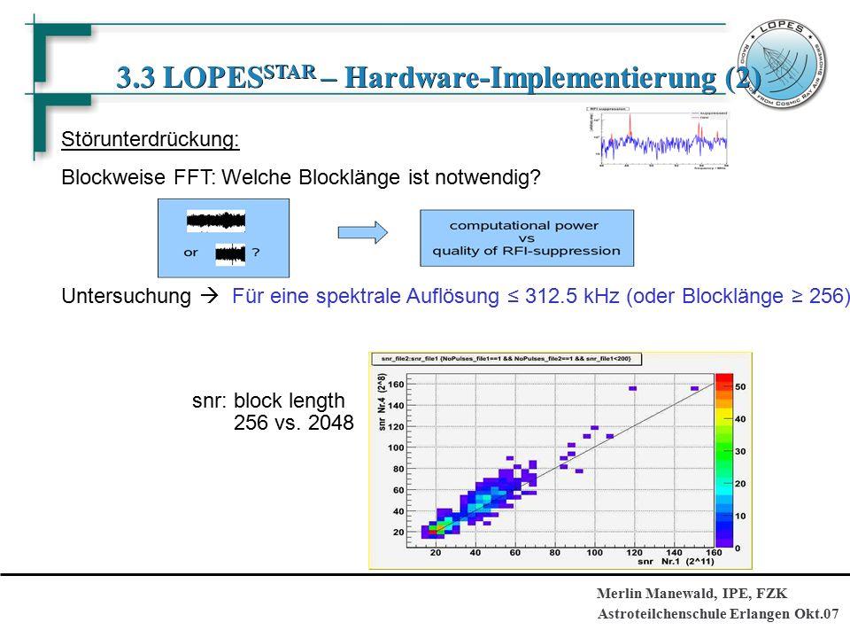 Astroteilchenschule Erlangen Okt.07 Merlin Manewald, IPE, FZK 3.3 LOPES STAR – Hardware-Implementierung (2) Störunterdrückung: Blockweise FFT: Welche Blocklänge ist notwendig.
