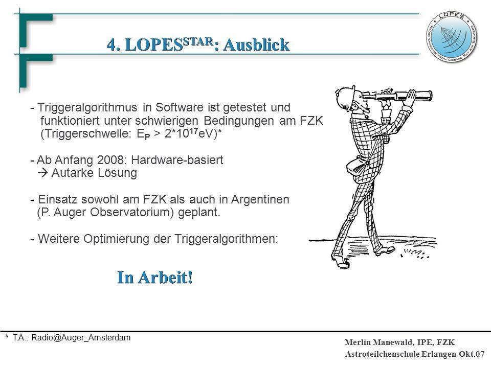 Astroteilchenschule Erlangen Okt.07 Merlin Manewald, IPE, FZK 4. LOPES STAR : Ausblick - Triggeralgorithmus in Software ist getestet und funktioniert