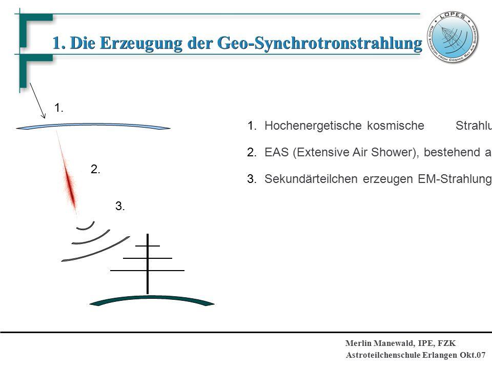 Astroteilchenschule Erlangen Okt.07 Merlin Manewald, IPE, FZK 1. Die Erzeugung der Geo-Synchrotronstrahlung 1. 2. 3. 1.Hochenergetische kosmische Stra
