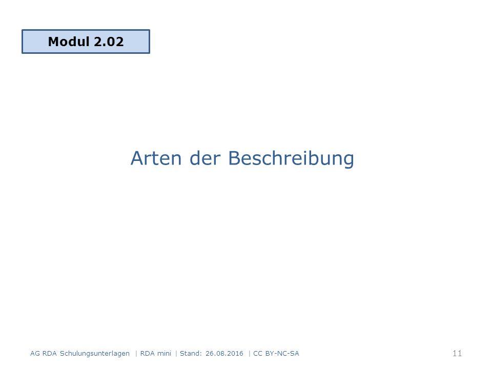 Arten der Beschreibung Modul 2.02 11 AG RDA Schulungsunterlagen | RDA mini | Stand: 26.08.2016 | CC BY-NC-SA