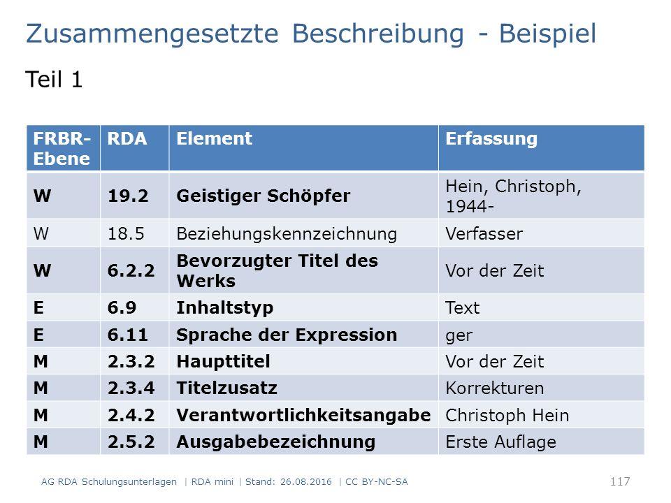 117 FRBR- Ebene RDAElementErfassung W19.2Geistiger Schöpfer Hein, Christoph, 1944- W18.5BeziehungskennzeichnungVerfasser W6.2.2 Bevorzugter Titel des Werks Vor der Zeit E6.9InhaltstypText E6.11Sprache der Expressionger M2.3.2HaupttitelVor der Zeit M2.3.4TitelzusatzKorrekturen M2.4.2VerantwortlichkeitsangabeChristoph Hein M2.5.2AusgabebezeichnungErste Auflage Zusammengesetzte Beschreibung - Beispiel AG RDA Schulungsunterlagen | RDA mini | Stand: 26.08.2016 | CC BY-NC-SA Teil 1