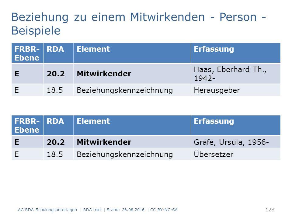 128 FRBR- Ebene RDAElementErfassung E20.2Mitwirkender Haas, Eberhard Th., 1942- E18.5BeziehungskennzeichnungHerausgeber Beziehung zu einem Mitwirkenden - Person - Beispiele AG RDA Schulungsunterlagen | RDA mini | Stand: 26.08.2016 | CC BY-NC-SA FRBR- Ebene RDAElementErfassung E20.2MitwirkenderGräfe, Ursula, 1956- E18.5BeziehungskennzeichnungÜbersetzer