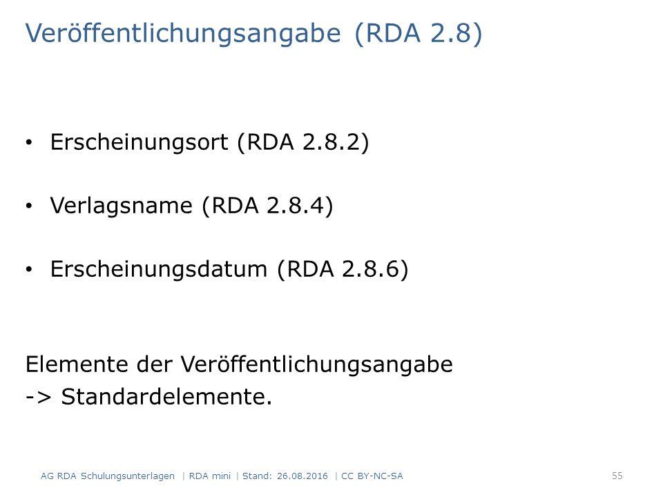 Veröffentlichungsangabe (RDA 2.8) Erscheinungsort (RDA 2.8.2) Verlagsname (RDA 2.8.4) Erscheinungsdatum (RDA 2.8.6) Elemente der Veröffentlichungsangabe -> Standardelemente.