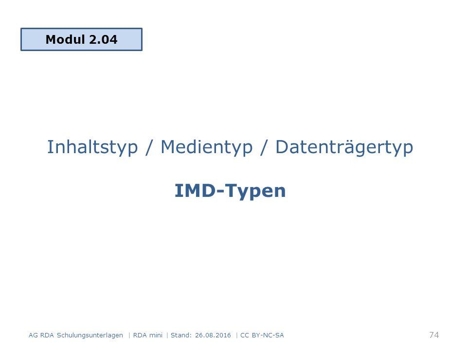 Inhaltstyp / Medientyp / Datenträgertyp IMD-Typen Modul 2.04 74 AG RDA Schulungsunterlagen | RDA mini | Stand: 26.08.2016 | CC BY-NC-SA