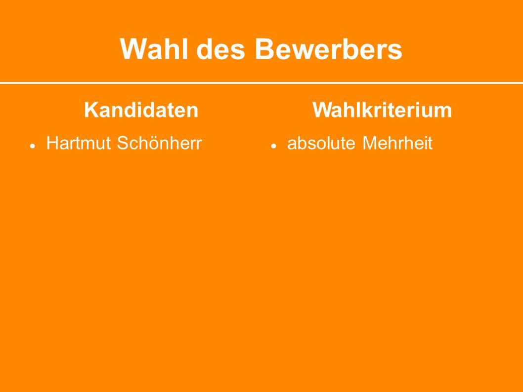Wahl des Bewerbers Kandidaten ● Hartmut Schönherr Wahlkriterium ● absolute Mehrheit