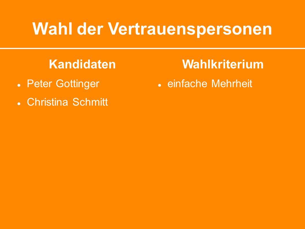 Wahl der Vertrauenspersonen Kandidaten ● Peter Gottinger ● Christina Schmitt Wahlkriterium ● einfache Mehrheit