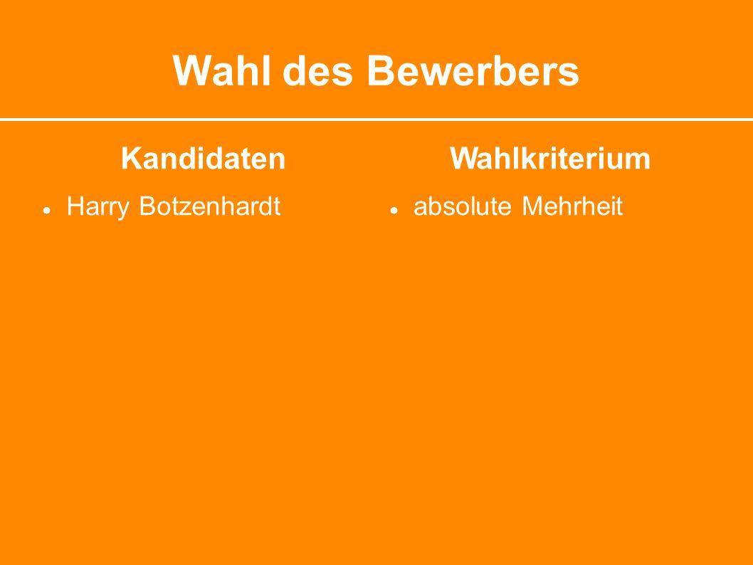 Wahl des Bewerbers Kandidaten ● Harry Botzenhardt Wahlkriterium ● absolute Mehrheit