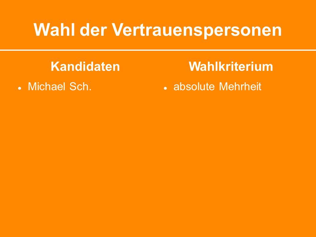 Wahl der Vertrauenspersonen Kandidaten ● Michael Sch. Wahlkriterium ● absolute Mehrheit