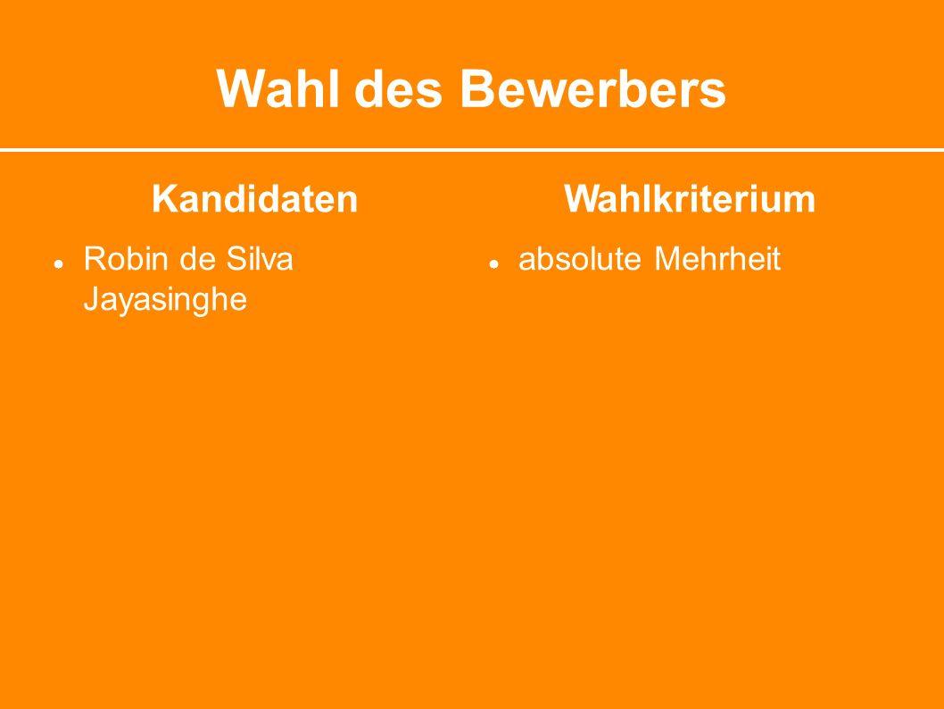 Wahl des Bewerbers Kandidaten ● Robin de Silva Jayasinghe Wahlkriterium ● absolute Mehrheit