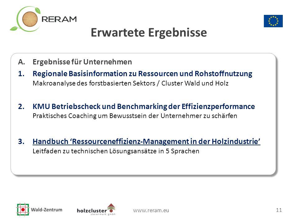www.reram.eu 11 Erwartete Ergebnisse A. Ergebnisse für Unternehmen 1.Regionale Basisinformation zu Ressourcen und Rohstoffnutzung Makroanalyse des for